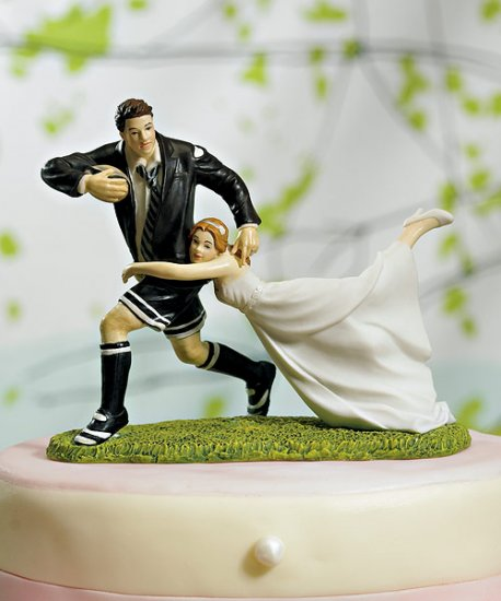 Rugby Sport Couple Figurine Funny Cake Topper