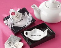 Ceramic Tea-Bag Caddy in Black & White Serving-Tray Gift Box