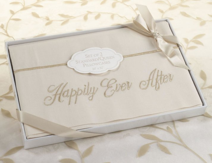 Set of 2 Happily Ever After Ivory Pillowcases