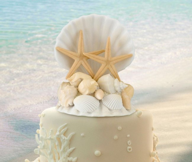 Coastal Seashell Wedding Cake Topper