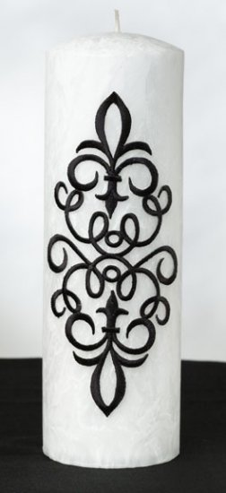 Assortment of Scroll White Palm Wax Pillar Candle