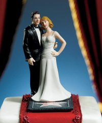 "Hollywood Glamour Couple ""Stars for a Day\"" Figurine Cake Topper"