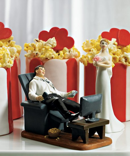 Funny Couch Potato Groom Wedding Cake Topper