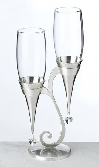 Silver Glass Flutes and Holder Set Toasting Glasses