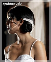 Wedding White Pearl & Crystal Flowers in Silver Hair Comb