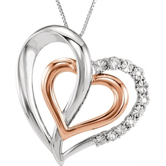 14K Rose Gold-Plated Sterling Silver .03 CTW Diamond Heart 18""