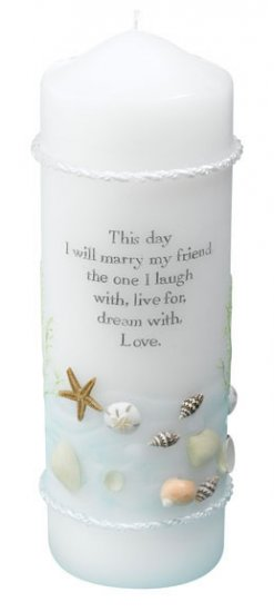 Coastal Sea Pillar Candle with Verse