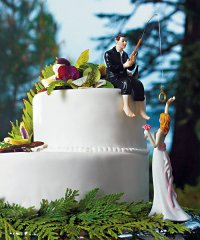 """Hooked on Love"" Choose Bride/Groom Funny Cake Topper"