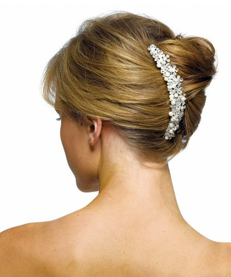 Ivory Pearls & Crystal Flowers Hair Comb