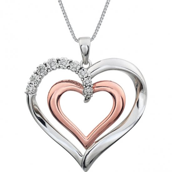 14K Rose Gold-Plated Sterling Silver .06 CTW Diamond Heart 18""
