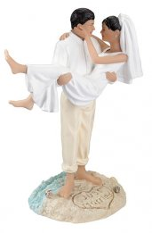 Hispanic Beach Couple Figurine Cake Topper