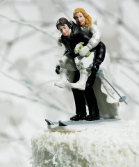 Winter Skiing Wedding Couple Figurine Cake Topper