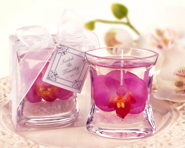 Elegant Orchid Gel Candle Favor