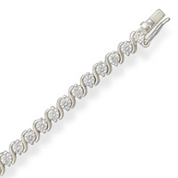 CZ with Silver Twist Tennis Bracelet- Wedding Jewelry