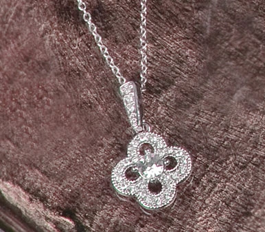 Crystal Clover Necklace Pendant Silver